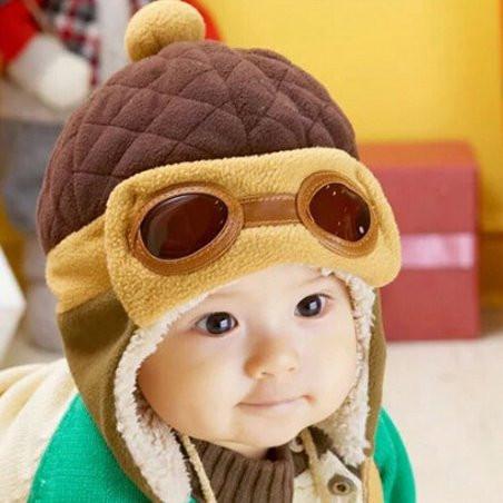 Детская шапка на флисе Авиатор
