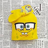 Детский демисезонный вязанный комплект: шапка и варежки
