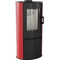 Стальная печь-камин Kratki Koza AB/S/K с красными кафельными панелями