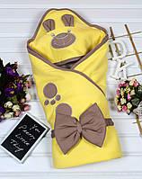 """Милый конверт-одеяло на выписку """"Мишка"""" вышивка."""