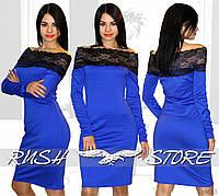 Платье с открытыми плечами и гипюром