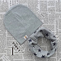 Комплект: шапка на флисе + трикотажный хомут для детей от 1 года до 3 лет