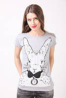 Женская футболка заяц серый МФ  222-6