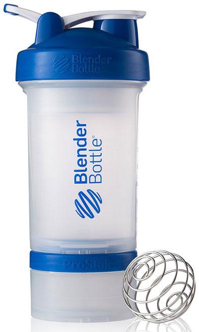 Шейкер BlenderBottle ProStak 16 oz/450 ml  3, 450 мл, прозрачный с синей крышкой/transparent with dark blue cap