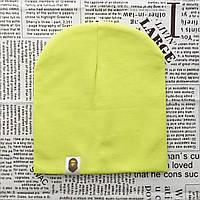 Демисезонная трикотажная шапка Варе неоновый желтый