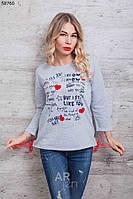 Кофта женская с принтом Надписи Сердечки цвет серый p.44-48 A59760-4