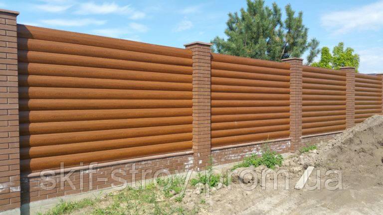Забор из металлического блок хауса. Металлический блок хаус для забора
