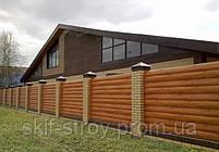 Забор из металлического блок хауса. Металлический блок хаус для забора, фото 3
