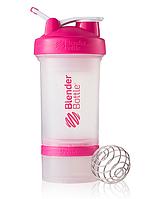 Шейкер BlenderBottle ProStak 16 oz/450 ml 3, 450 мл, прозорий з рожевою кришкою/transparent with pink cap
