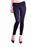 Лосины женские черные с боковыми полосками из замши,универсальное решение для гардероба,оптом