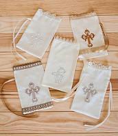 Мешочек для волосиков на крещение с вышивкой