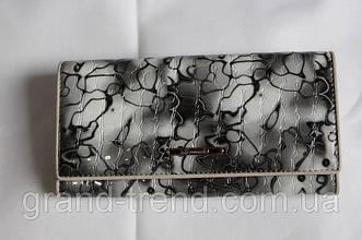 """Лаковий шкіряний гаманець сірого кольору """"Somuch"""""""
