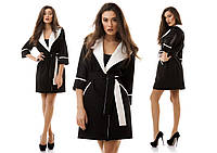 Женское стильное черное платье запах с белыми манжетами и поясом. Арт-1177/16