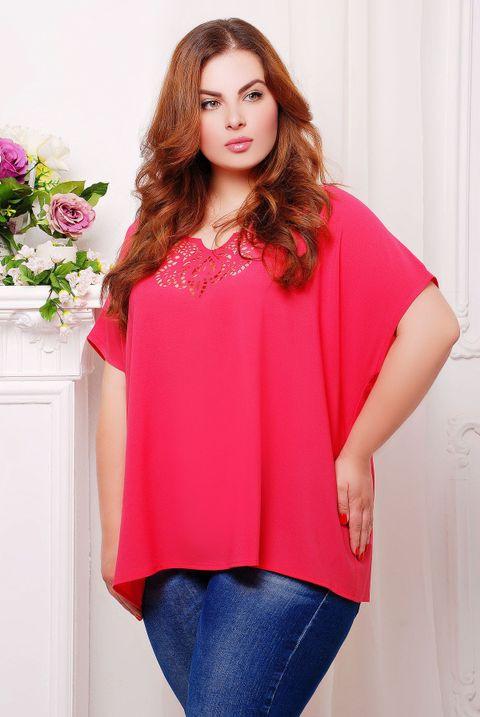 49bc0343a46f Женская ярко-розовая блуза Миранда ТМ Таtiana 54-60 размеры - купить ...