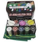 Покерный набор в метал. коробке-200 1103240 (200фишек с номин,2к.карт,5к,р-р кор.20,5*25,5*9,5см)