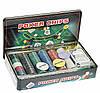 Покерный набор в метал. коробке-300 (300 фишек, 2кол. карт, полотно,р-р кор. 33*19,5*5см)