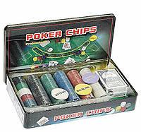 Покерный набор в метал. коробке-300 (300 фишек, 2кол. карт, полотно,р-р кор. 33*19,5*5см), фото 1