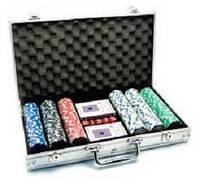 Покерный набор в алюм. кейсе-300 (300фиш.без номин,2кол.карт, 5куб,р-р кейса40*21*6,5см)