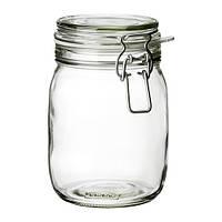 "IKEA ""КОРКЕН"" Банка с крышкой, прозрачное стекло, 1 л"