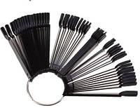 Типсы веер черные пластиковые на кольце