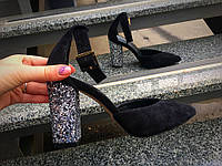Туфли женские на пряжке  натуральный замш,каблук блестки