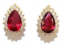 Серьги гвоздики.Камень: бордовый и белый циркон.Позолота. Высота серьги: 1,7 см. Ширина: 12 мм.
