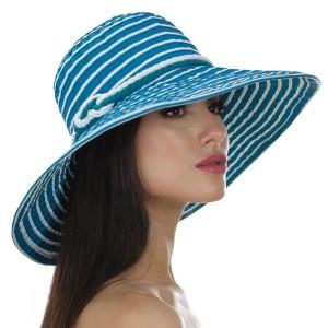 Шляпа женская в полоску с моделируемыми полями