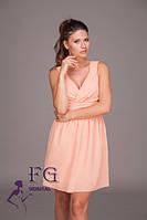 Женское платье из креп-шифона персикового цвета в стиле бэби-долл