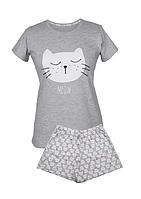 Піжама Muzzy Жіноча шорти+футболка Біле Котеня 212