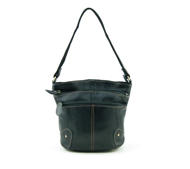 Женская кожаная сумочка через плечо | черная