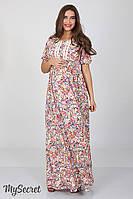 Шикарное длинное платье для беременных и кормления Tamana, мелкие цветы на экрю*, фото 1