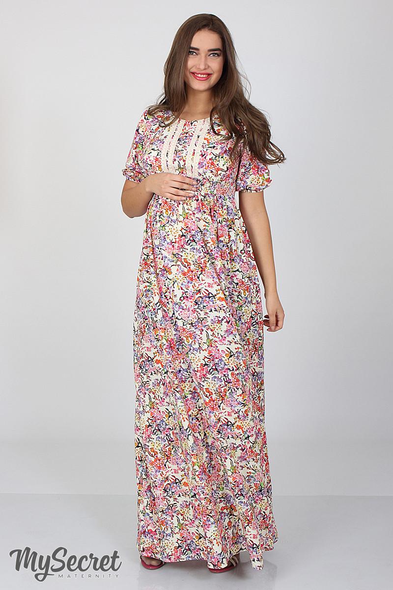 e77576f2f0cd Шикарное длинное платье для беременных и кормления Tamana, мелкие цветы на  экрю - Интернет-