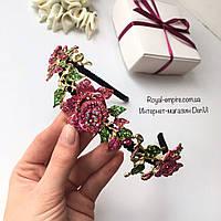 """Венок """"Rose"""" с нежными розами малинового цвета."""
