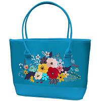Большая голубая сумка шоппер с принтом Букет цветов