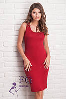 Повседневное летнее платье облегающего силуэта красного цвета