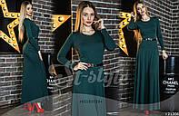 Длинное женское платье однотонное с поясом