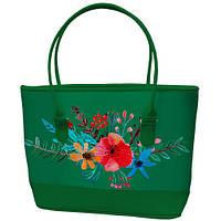 Большая зеленая сумка шоппер с принтом Букет цветов