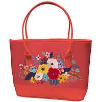 Большая коралловая сумка шоппер с принтом Букет цветов
