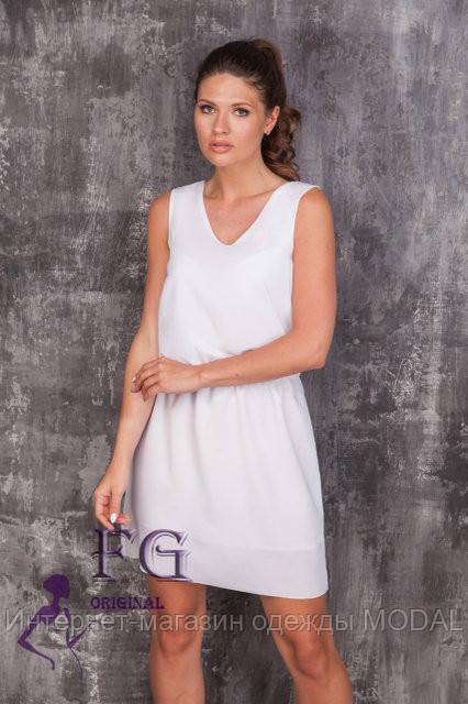 b7a11358928 Шифоновое платье свободного прямого силуэта молочного цвета ...