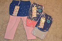 Трикотажные легинсы c юбкой для девочек 1-5 лет