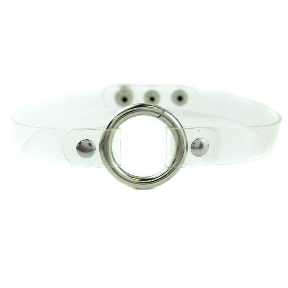 Чокер силиконовый с металлическим кольцом прозрачный