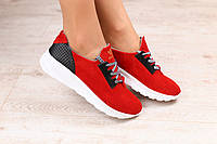 Женские кроссовки, красные, замшевые, на белой подошве, на шнурках