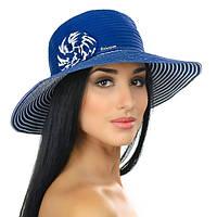 Женская летняя шляпа в полоску с моделируемыми полями