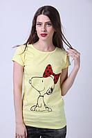 """Желтая футболка с принтом """"Бантик"""""""