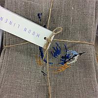 Салфетки серые натуральные с вышитыми синими птичками