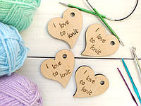 """Сердце-брелок из фанеры """"I love to knit"""""""