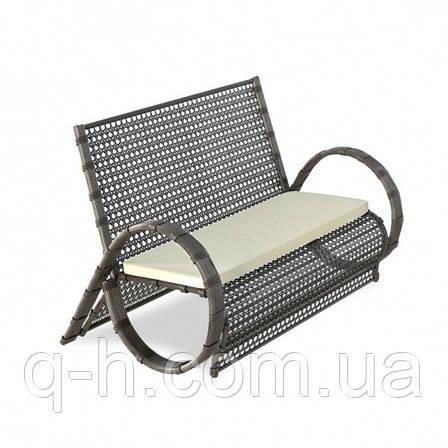 Софа двухместная плетеная Viano (Виано) из искусственного ротанга коричневого 150x90x94 см, фото 2