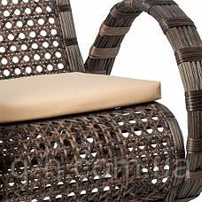 Софа двухместная плетеная Viano (Виано) из искусственного ротанга коричневого 150x90x94 см, фото 3