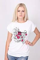 Красивая белая футболка женская с рисунком