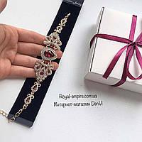 """Свадебный браслет """"Азалия"""", красного цвета, золотистая основа."""